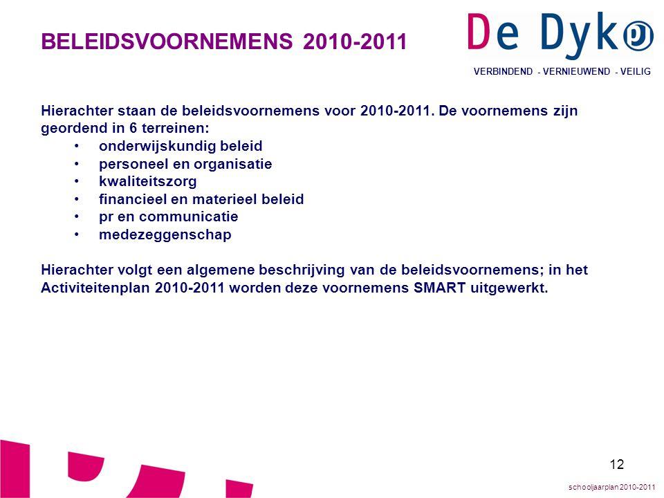 12 VERBINDEND - VERNIEUWEND - VEILIG BELEIDSVOORNEMENS 2010-2011 Hierachter staan de beleidsvoornemens voor 2010-2011. De voornemens zijn geordend in