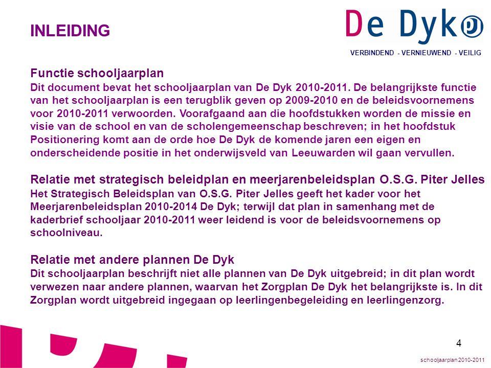 4 VERBINDEND - VERNIEUWEND - VEILIG INLEIDING Functie schooljaarplan Dit document bevat het schooljaarplan van De Dyk 2010-2011. De belangrijkste func
