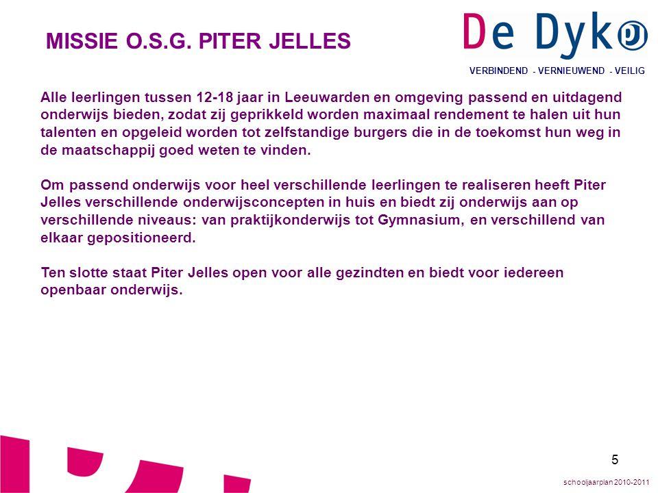 5 VERBINDEND - VERNIEUWEND - VEILIG MISSIE O.S.G. PITER JELLES Alle leerlingen tussen 12-18 jaar in Leeuwarden en omgeving passend en uitdagend onderw