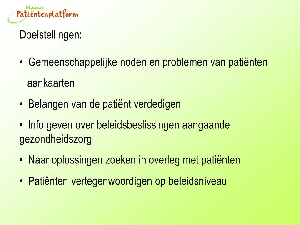 Doelstellingen: Gemeenschappelijke noden en problemen van patiënten aankaarten Belangen van de patiënt verdedigen Info geven over beleidsbeslissingen aangaande gezondheidszorg Naar oplossingen zoeken in overleg met patiënten Patiënten vertegenwoordigen op beleidsniveau