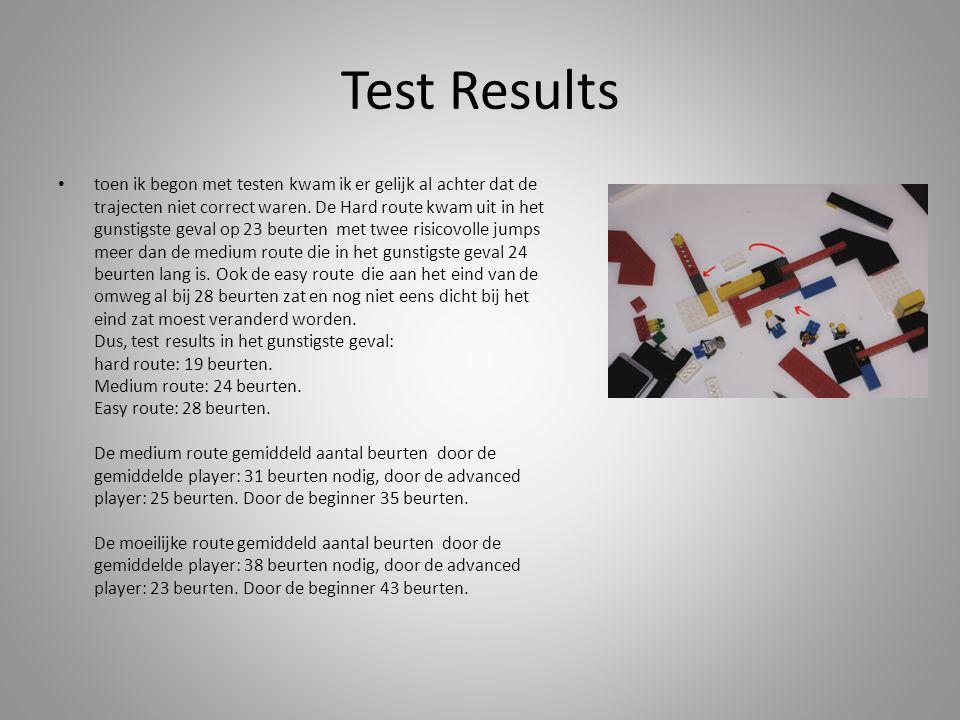 Test Results toen ik begon met testen kwam ik er gelijk al achter dat de trajecten niet correct waren.