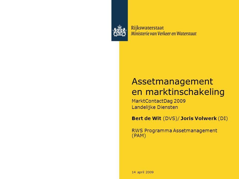 14 april 2009 Assetmanagement en marktinschakeling MarktContactDag 2009 Landelijke Diensten Bert de Wit (DVS)/ Joris Volwerk (DI) RWS Programma Assetm