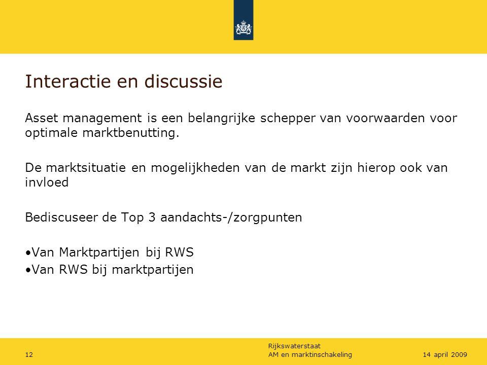 Rijkswaterstaat AM en marktinschakeling1214 april 2009 Interactie en discussie Asset management is een belangrijke schepper van voorwaarden voor optimale marktbenutting.