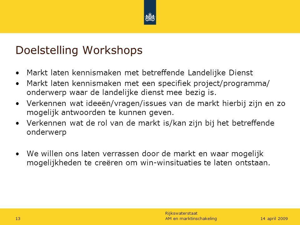 Rijkswaterstaat AM en marktinschakeling1314 april 2009 Doelstelling Workshops Markt laten kennismaken met betreffende Landelijke Dienst Markt laten ke