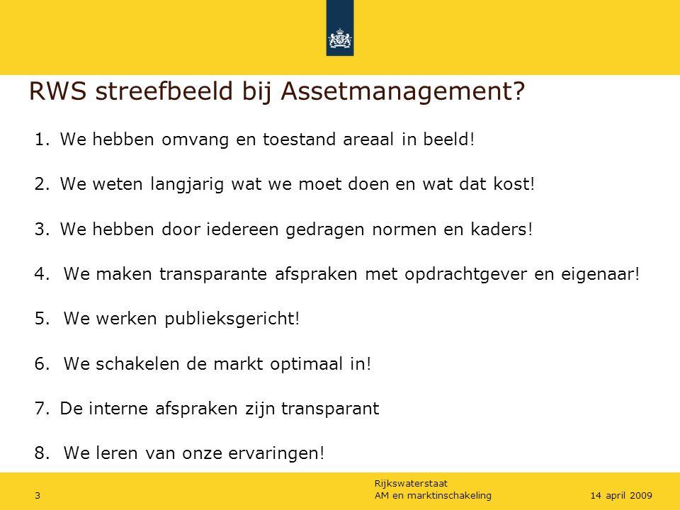Rijkswaterstaat AM en marktinschakeling314 april 2009 RWS streefbeeld bij Assetmanagement? 1.We hebben omvang en toestand areaal in beeld! 2.We weten