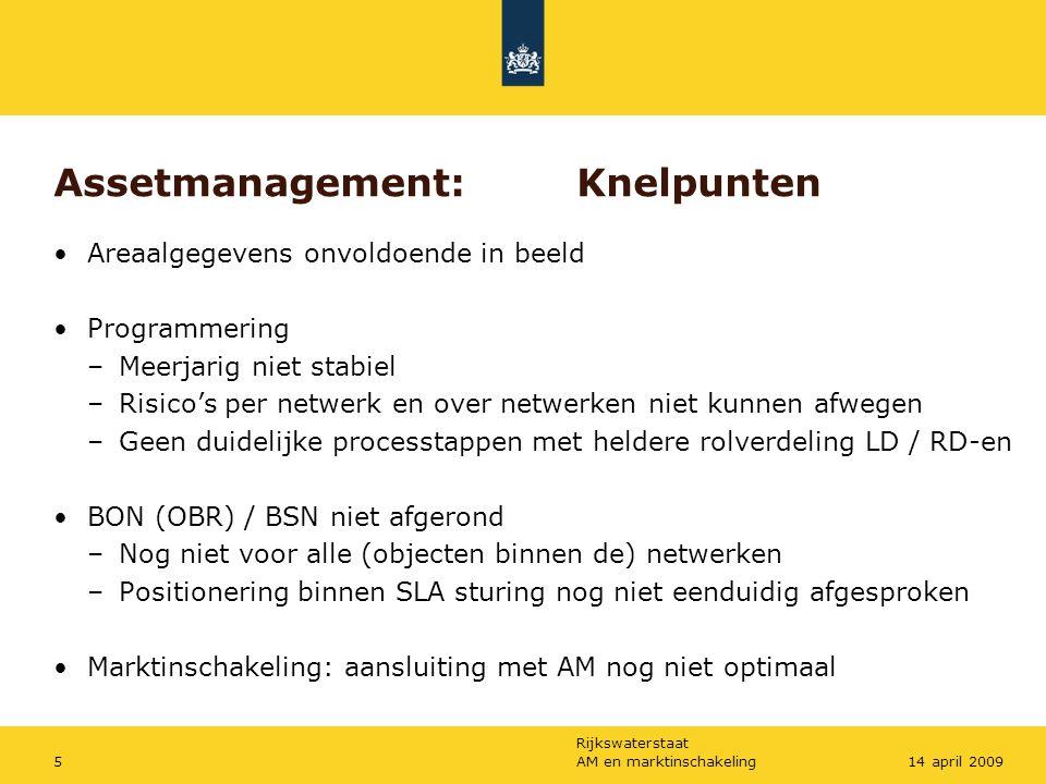 Rijkswaterstaat AM en marktinschakeling514 april 2009 Assetmanagement:Knelpunten Areaalgegevens onvoldoende in beeld Programmering –Meerjarig niet sta