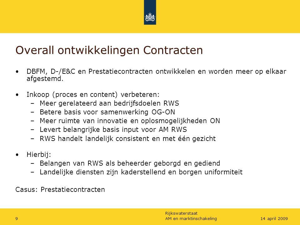 Rijkswaterstaat AM en marktinschakeling914 april 2009 Overall ontwikkelingen Contracten DBFM, D-/E&C en Prestatiecontracten ontwikkelen en worden meer