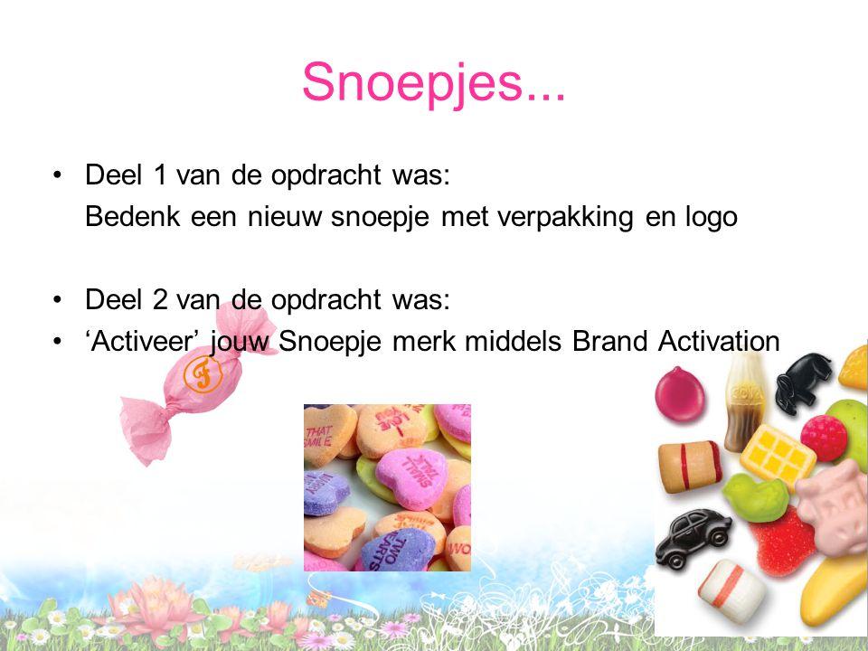Snoepjes... Deel 1 van de opdracht was: Bedenk een nieuw snoepje met verpakking en logo Deel 2 van de opdracht was: 'Activeer' jouw Snoepje merk midde