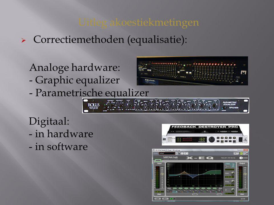 Uitleg akoestiekmetingen  Correctiemethoden (equalisatie): Digitaal: - in hardware - in software Analoge hardware: - Graphic equalizer - Parametrische equalizer