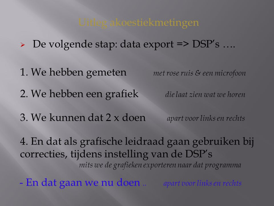 Uitleg akoestiekmetingen  De volgende stap: data export => DSP's ….