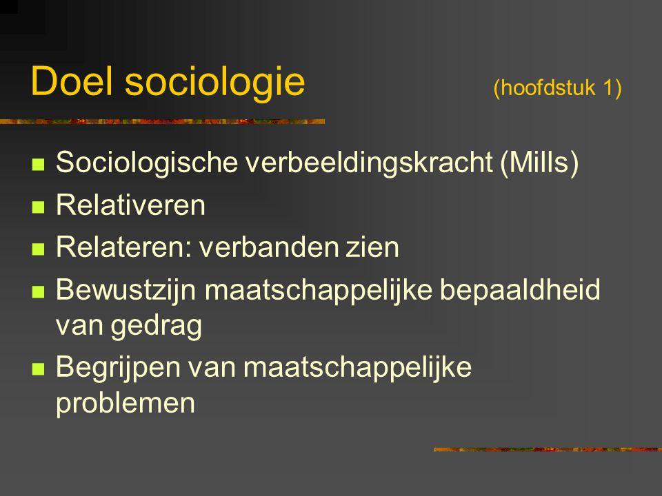 Doel sociologie (hoofdstuk 1) Sociologische verbeeldingskracht (Mills) Relativeren Relateren: verbanden zien Bewustzijn maatschappelijke bepaaldheid v