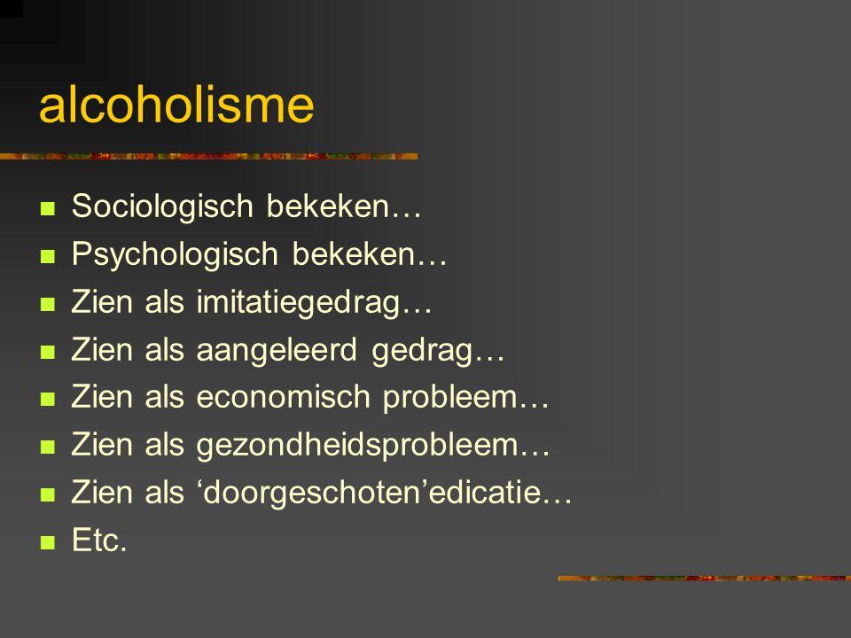 alcoholisme Sociologisch bekeken… Psychologisch bekeken… Zien als imitatiegedrag… Zien als aangeleerd gedrag… Zien als economisch probleem… Zien als g