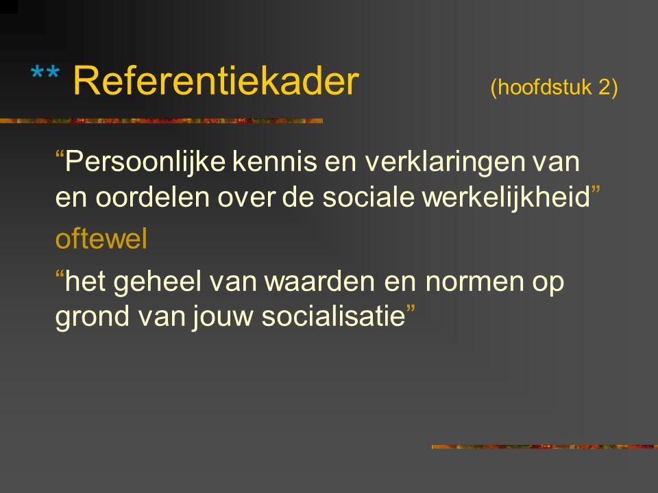 """** Referentiekader (hoofdstuk 2) """"Persoonlijke kennis en verklaringen van en oordelen over de sociale werkelijkheid"""" oftewel """"het geheel van waarden e"""