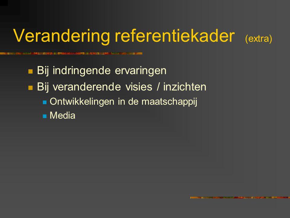 Verandering referentiekader (extra) Bij indringende ervaringen Bij veranderende visies / inzichten Ontwikkelingen in de maatschappij Media