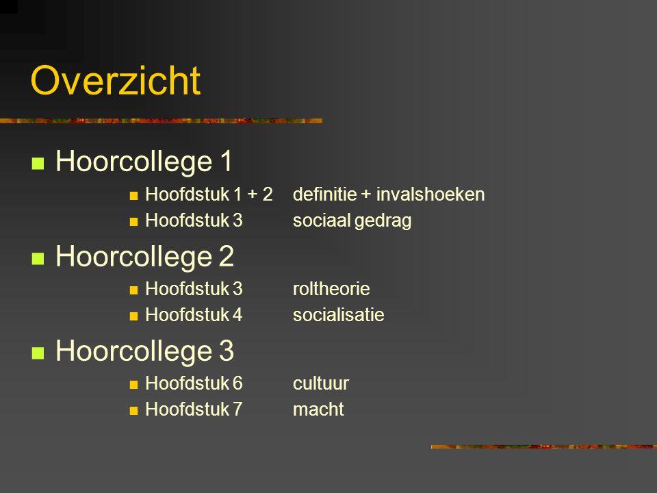 Overzicht Hoorcollege 1 Hoofdstuk 1 + 2 definitie + invalshoeken Hoofdstuk 3 sociaal gedrag Hoorcollege 2 Hoofdstuk 3 roltheorie Hoofdstuk 4socialisat