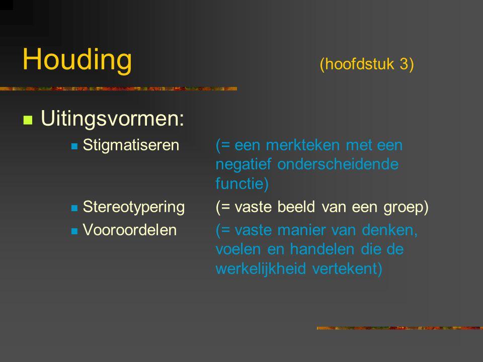 Houding (hoofdstuk 3) Uitingsvormen: Stigmatiseren(= een merkteken met een negatief onderscheidende functie) Stereotypering (= vaste beeld van een gro
