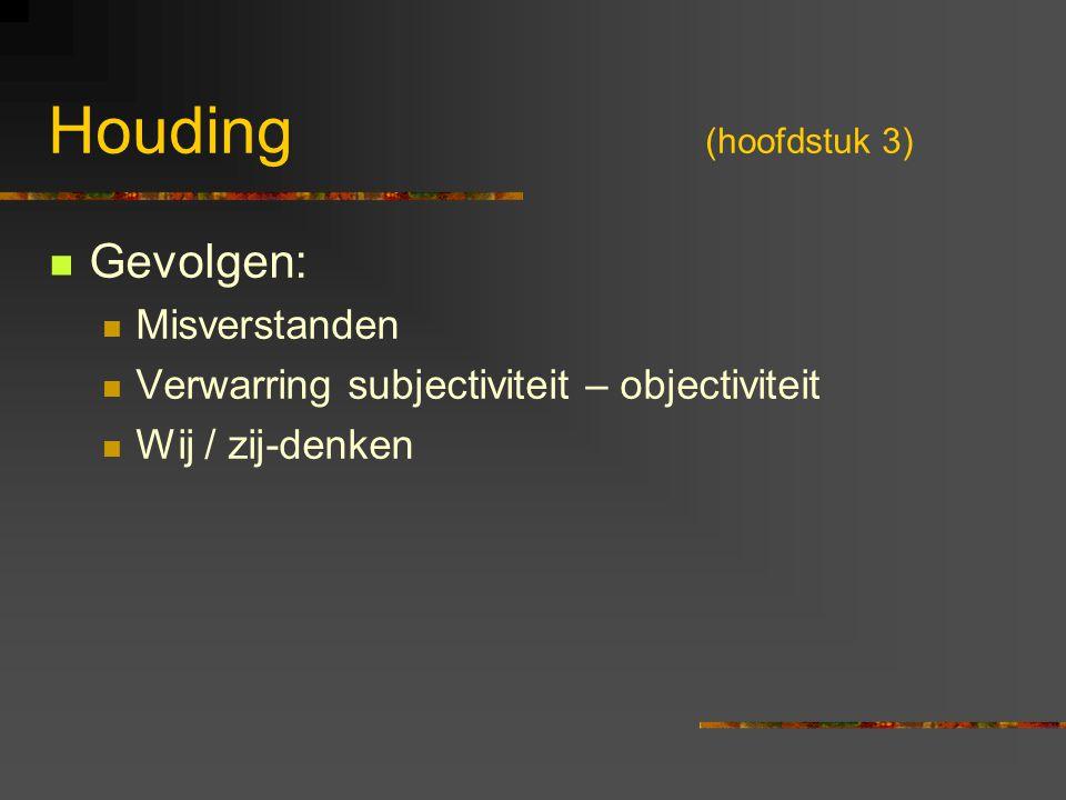 Houding (hoofdstuk 3) Gevolgen: Misverstanden Verwarring subjectiviteit – objectiviteit Wij / zij-denken