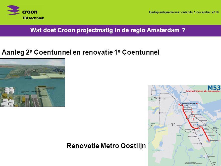 Bedrijvenbijeenkomst ontspits 1 november 2010 Wat doet Croon projectmatig in de regio Amsterdam .