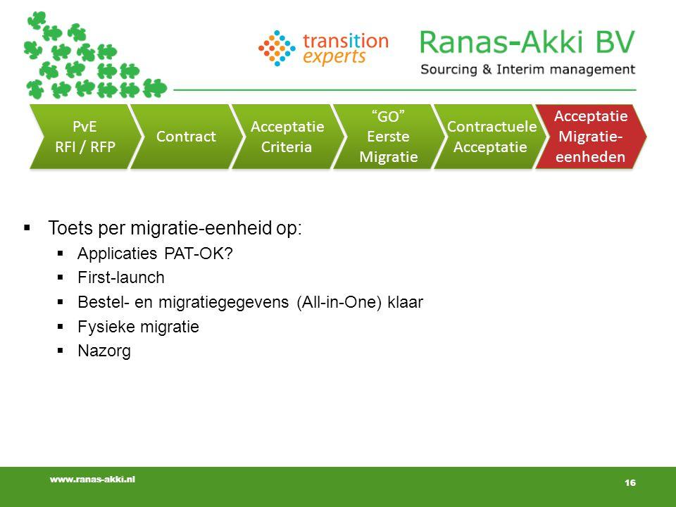 16 www.ranas-akki.nl 16  Toets per migratie-eenheid op:  Applicaties PAT-OK.