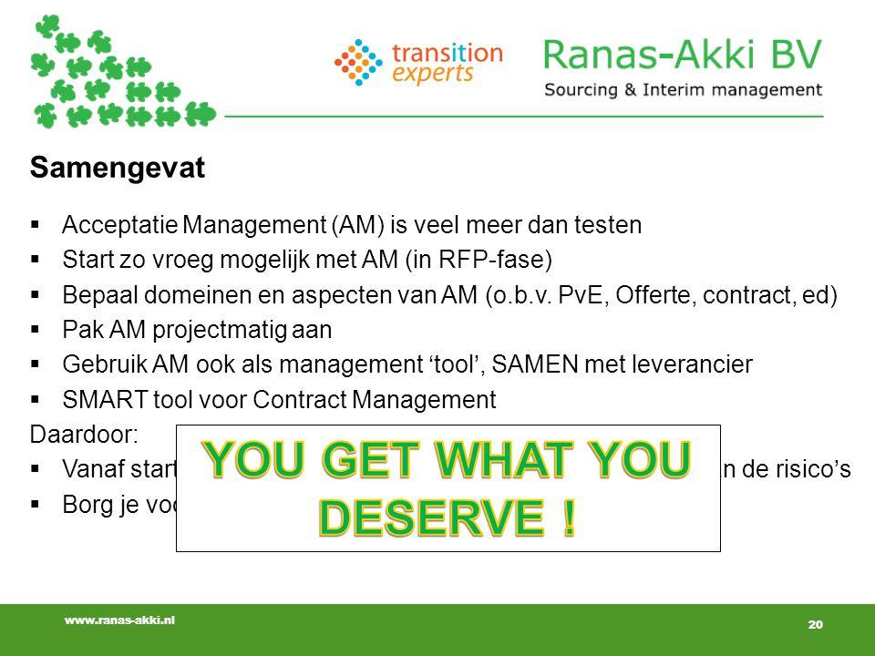 20 www.ranas-akki.nl Samengevat  Acceptatie Management (AM) is veel meer dan testen  Start zo vroeg mogelijk met AM (in RFP-fase)  Bepaal domeinen en aspecten van AM (o.b.v.