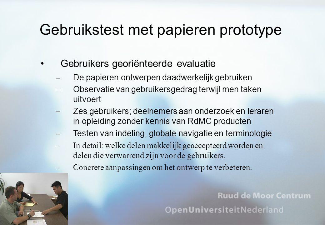 Gebruikstest met papieren prototype Gebruikers georiënteerde evaluatie –De papieren ontwerpen daadwerkelijk gebruiken –Observatie van gebruikersgedrag