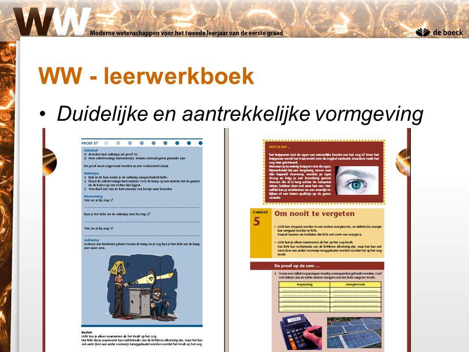 Duidelijke en aantrekkelijke vormgeving WW - leerwerkboek