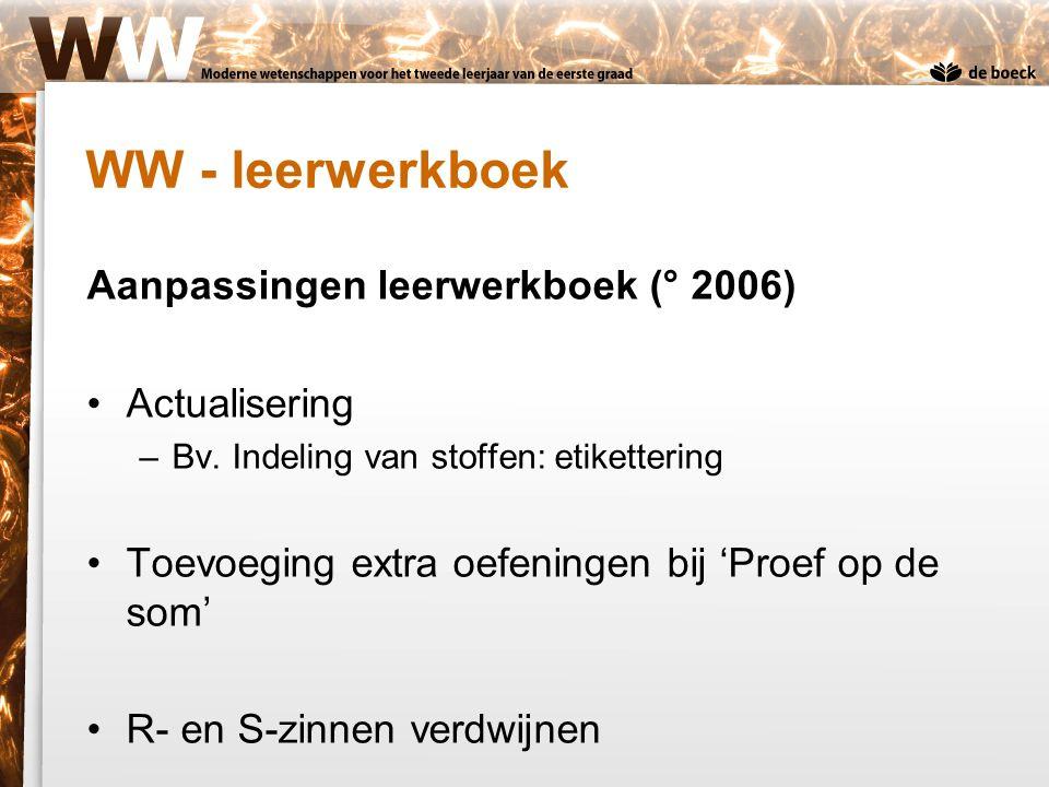 Aanpassingen leerwerkboek (° 2006) Actualisering –Bv. Indeling van stoffen: etikettering Toevoeging extra oefeningen bij 'Proef op de som' R- en S-zin