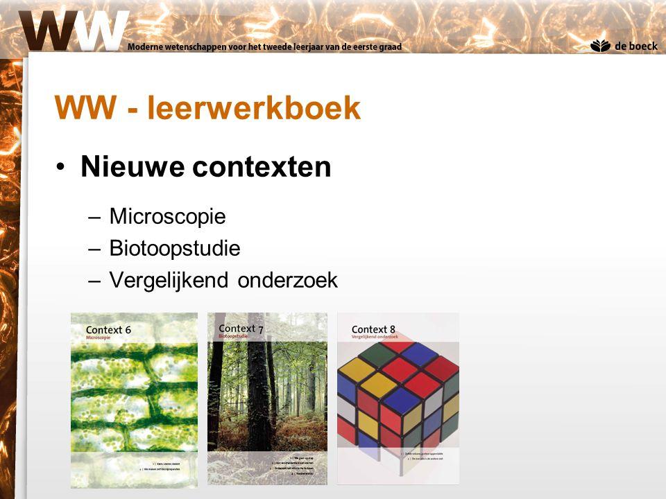 Nieuwe contexten –Microscopie –Biotoopstudie –Vergelijkend onderzoek
