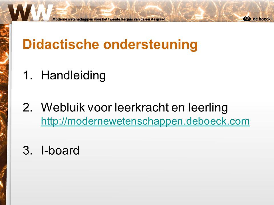 Didactische ondersteuning 1.Handleiding 2.Webluik voor leerkracht en leerling http://modernewetenschappen.deboeck.com http://modernewetenschappen.debo