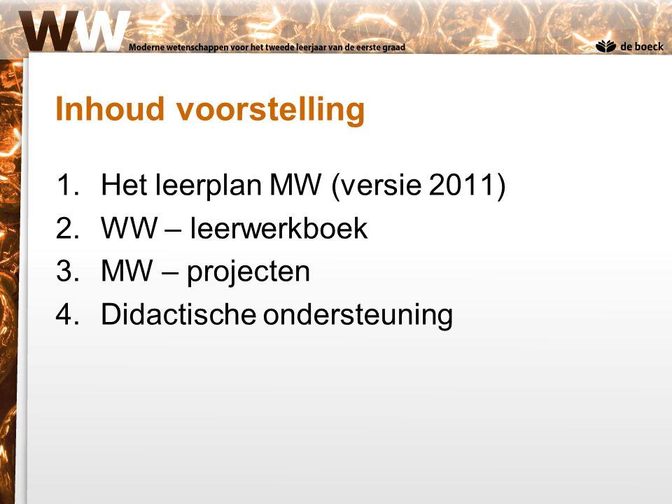 Het leerplan MW (versie 2011) Geen nieuwe doelstellingen –Gemeenschappelijke doelstellingen blijven: Onderzoekend leren Inzicht in wisselwerking tussen wetenschap en samenleving –Ook specifieke doelstellingen ongewijzigd Lesinvulling –Keuze uit verschillende contexten –Twee gemeenschappelijke projecten MW blijven verplicht.