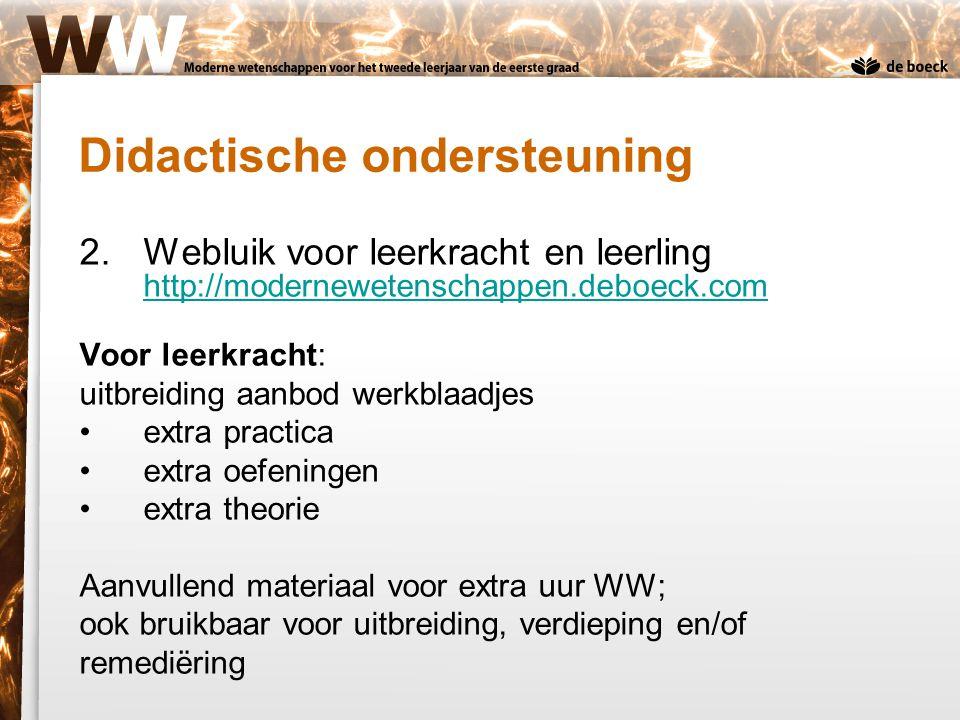 2.Webluik voor leerkracht en leerling http://modernewetenschappen.deboeck.com http://modernewetenschappen.deboeck.com Voor leerkracht: uitbreiding aan
