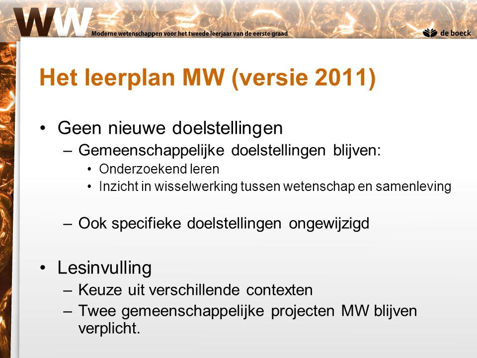 Het leerplan MW (versie 2011) Geen nieuwe doelstellingen –Gemeenschappelijke doelstellingen blijven: Onderzoekend leren Inzicht in wisselwerking tusse