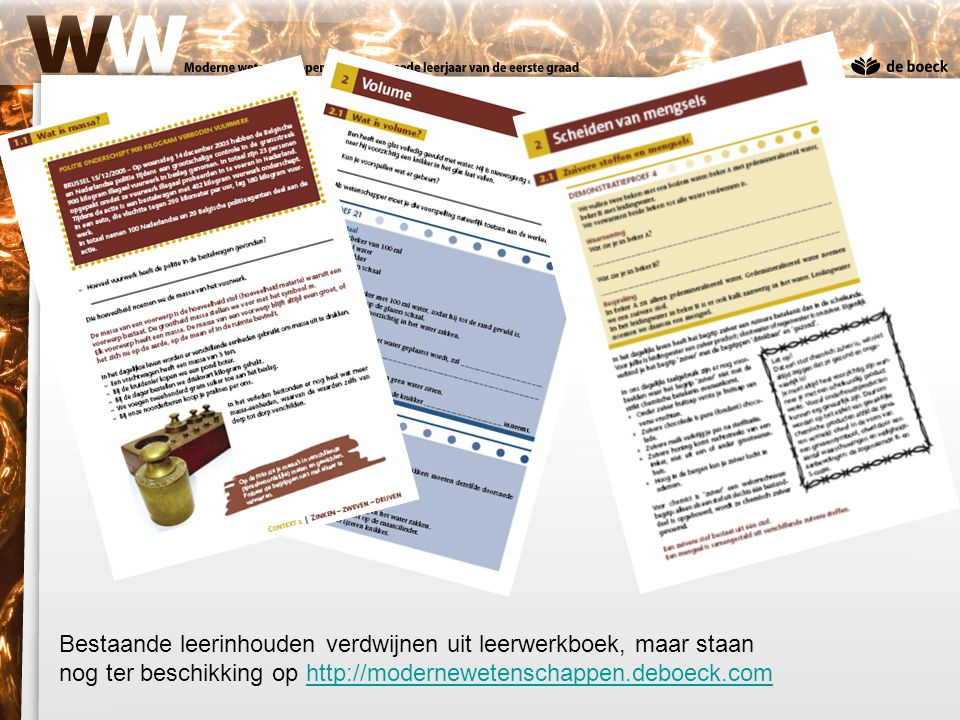 Bestaande leerinhouden verdwijnen uit leerwerkboek, maar staan nog ter beschikking op http://modernewetenschappen.deboeck.comhttp://modernewetenschapp