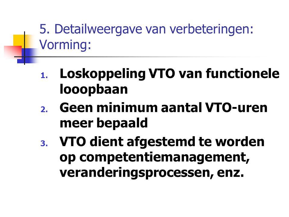 5. Detailweergave van verbeteringen: Vorming: 1. Loskoppeling VTO van functionele looopbaan 2. Geen minimum aantal VTO-uren meer bepaald 3. VTO dient