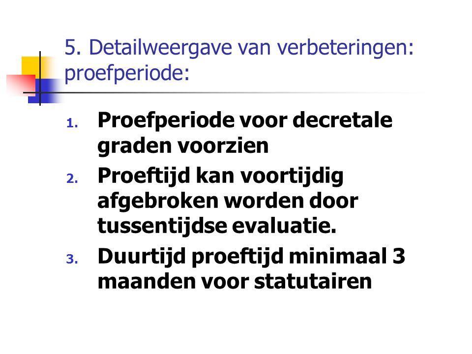 5. Detailweergave van verbeteringen: proefperiode: 1. Proefperiode voor decretale graden voorzien 2. Proeftijd kan voortijdig afgebroken worden door t