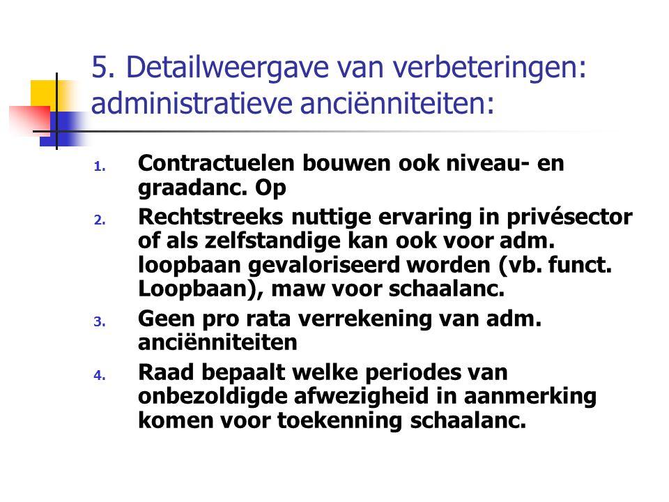 5. Detailweergave van verbeteringen: administratieve anciënniteiten: 1. Contractuelen bouwen ook niveau- en graadanc. Op 2. Rechtstreeks nuttige ervar