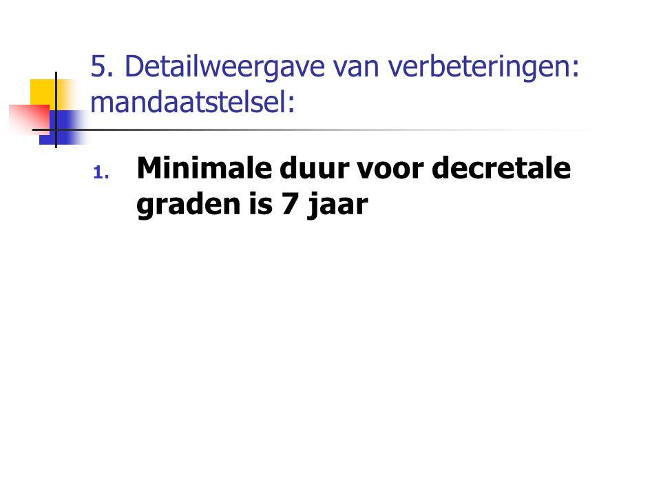 5. Detailweergave van verbeteringen: mandaatstelsel: 1. Minimale duur voor decretale graden is 7 jaar