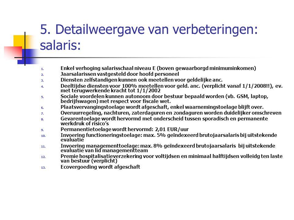 5. Detailweergave van verbeteringen: salaris: 1. Enkel verhoging salarisschaal niveau E (boven gewaarborgd minimuminkomen) 2. Jaarsalarissen vastgeste