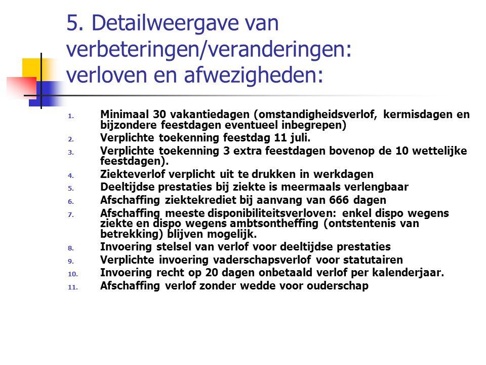 5. Detailweergave van verbeteringen/veranderingen: verloven en afwezigheden: 1. Minimaal 30 vakantiedagen (omstandigheidsverlof, kermisdagen en bijzon