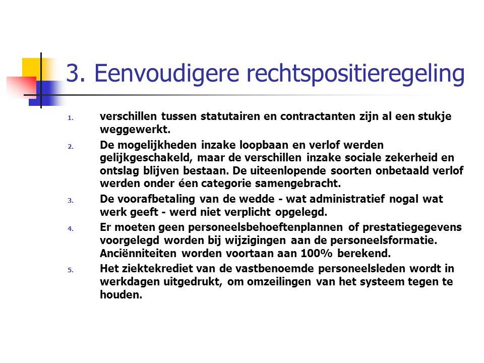 3. Eenvoudigere rechtspositieregeling 1. verschillen tussen statutairen en contractanten zijn al een stukje weggewerkt. 2. De mogelijkheden inzake loo