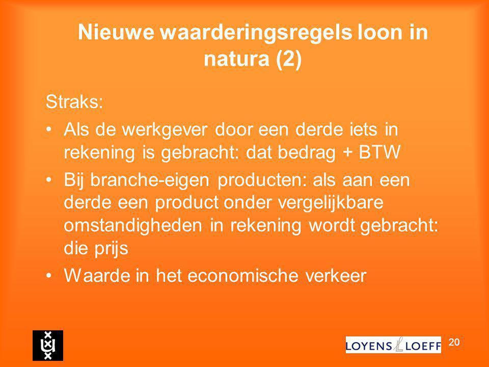 20 Nieuwe waarderingsregels loon in natura (2) Straks: Als de werkgever door een derde iets in rekening is gebracht: dat bedrag + BTW Bij branche-eige