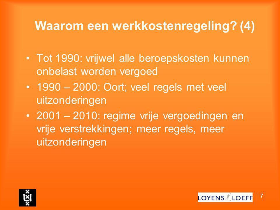7 Waarom een werkkostenregeling? (4) Tot 1990: vrijwel alle beroepskosten kunnen onbelast worden vergoed 1990 – 2000: Oort; veel regels met veel uitzo