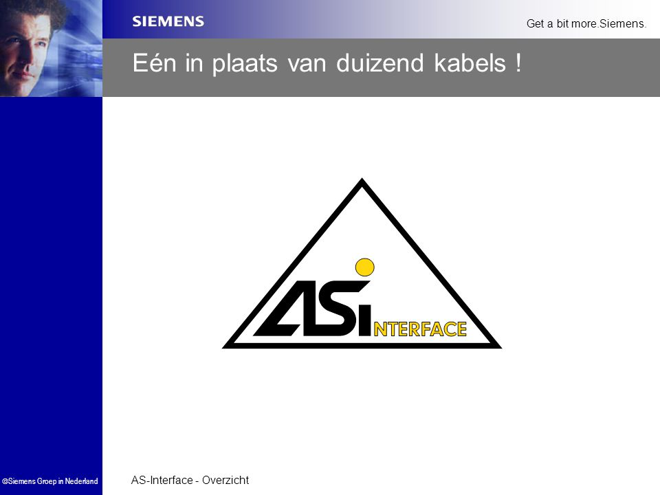 AS-Interface - Overzicht  Siemens Groep in Nederland Get a bit more.Siemens. Eén in plaats van duizend kabels !