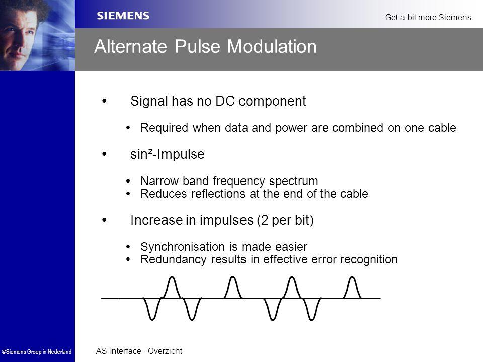 AS-Interface - Overzicht  Siemens Groep in Nederland Get a bit more.Siemens. Alternate Pulse Modulation  Signal has no DC component  Required when
