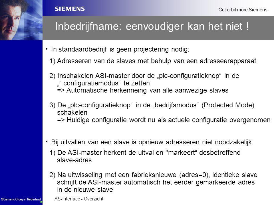 AS-Interface - Overzicht  Siemens Groep in Nederland Get a bit more.Siemens. Inbedrijfname: eenvoudiger kan het niet !  In standaardbedrijf is geen