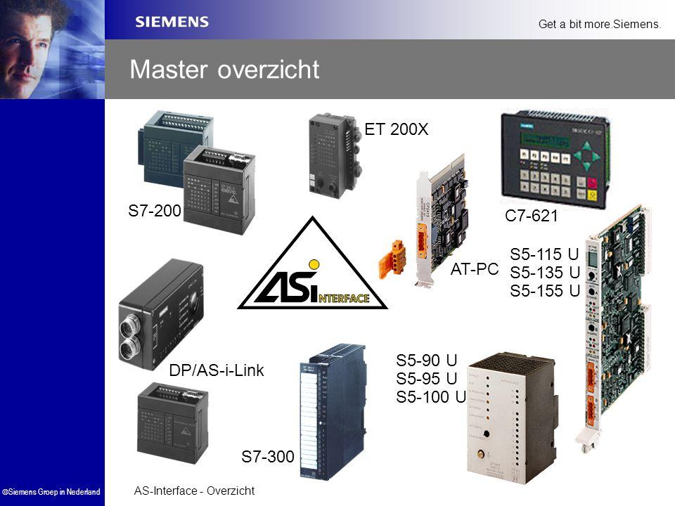 AS-Interface - Overzicht  Siemens Groep in Nederland Get a bit more.Siemens. S7-300 ET 200X DP/AS-i-Link C7-621 S5-115 U S5-135 U S5-155 U AT-PC S5-9