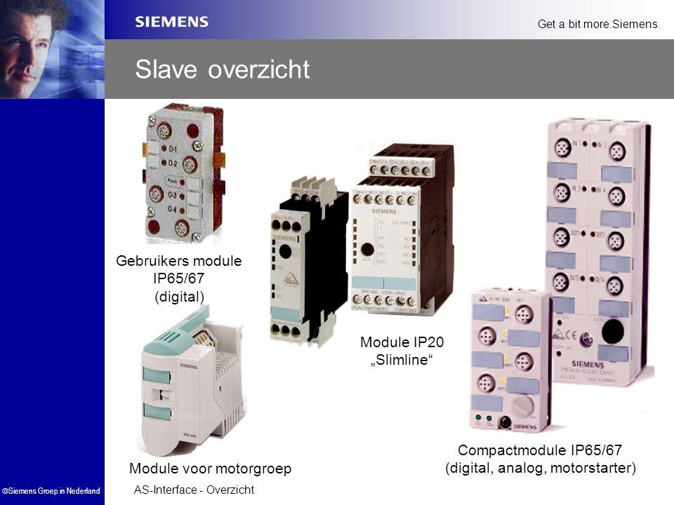 """AS-Interface - Overzicht  Siemens Groep in Nederland Get a bit more.Siemens. Module voor motorgroep Module IP20 """"Slimline"""" Gebruikers module IP65/67"""
