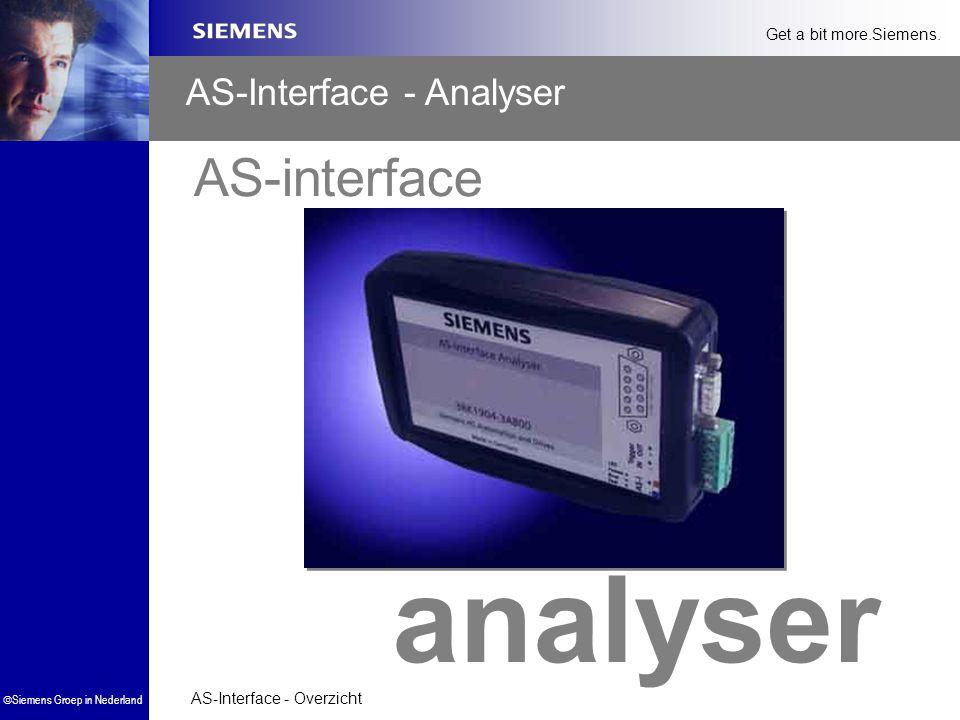 AS-Interface - Overzicht  Siemens Groep in Nederland Get a bit more.Siemens. AS-interface analyser AS-Interface - Analyser