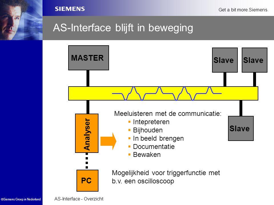 AS-Interface - Overzicht  Siemens Groep in Nederland Get a bit more.Siemens. AS-Interface blijft in beweging MASTER Slave Meeluisteren met de communi