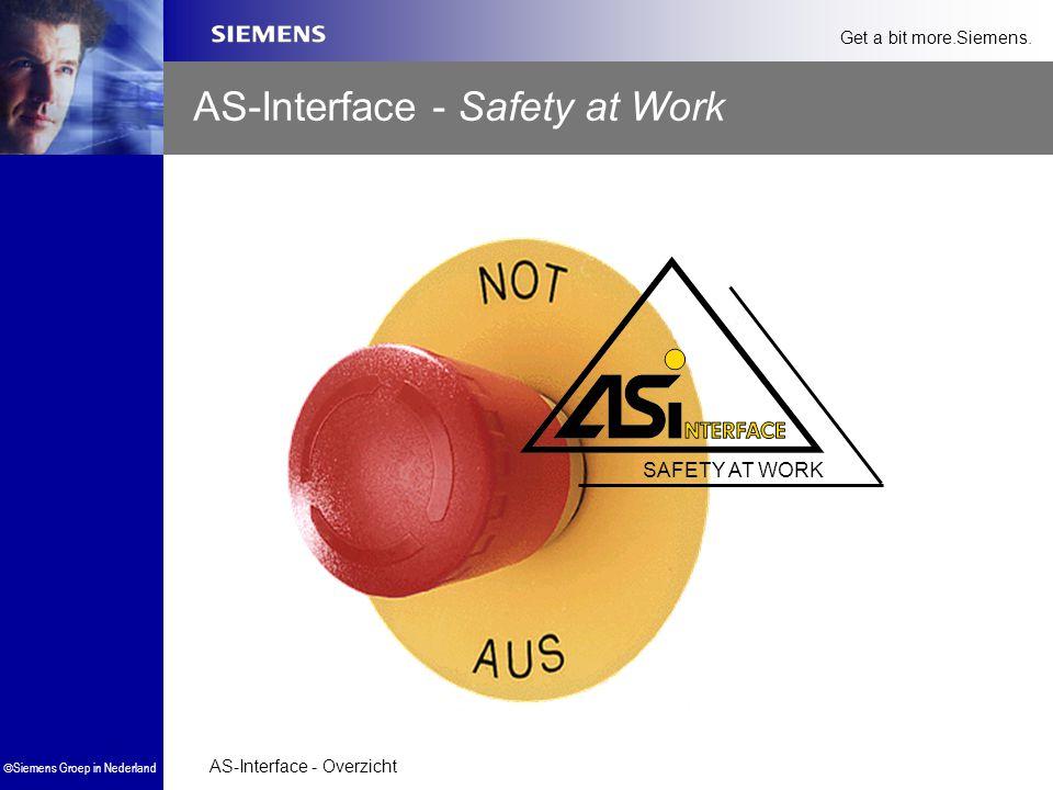 AS-Interface - Overzicht  Siemens Groep in Nederland Get a bit more.Siemens. SAFETY AT WORK AS-Interface - Safety at Work